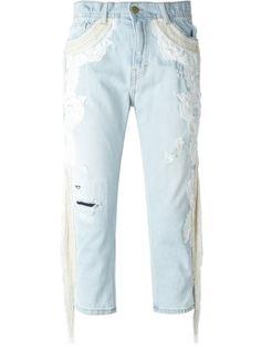 джинсы с вышивкой  Amen