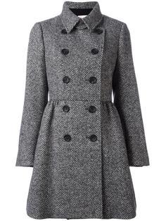 двубортное пальто с узором-елочкой Red Valentino