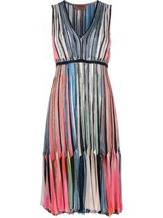 плиссированное платье с V-образным вырезом Missoni