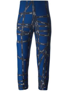 logo ribbon print leggings Hermès Vintage