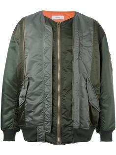 contrast stripe bomber jacket Facetasm