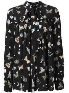 блузка с завязкой на бант с графическим принтом Alexander McQueen