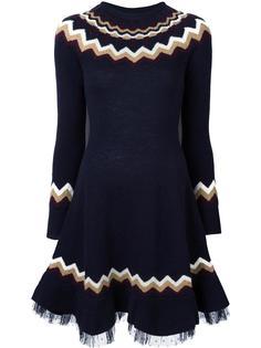 трикотажное платье с узором-елочкой Red Valentino