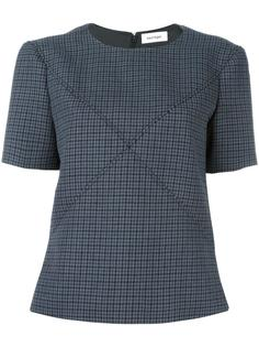 crisscross stitching houndstooth top Courrèges