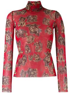 sheer turtleneck printed top Jean Paul Gaultier Vintage