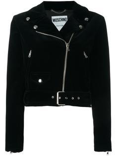байкерская куртка с принтом черепа на спине Moschino
