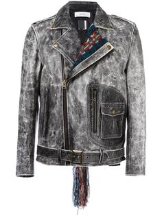 contrast collar biker jacket Facetasm