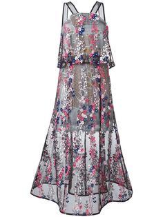 прозрачное платье с цветочной вышивкой Self-Portrait