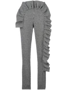 houndstooth ruffled slim fit trousers Ultràchic