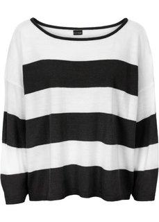 Прямой пуловер в стиле оверсайз короткой формы (бежевый/кремовый) Bonprix
