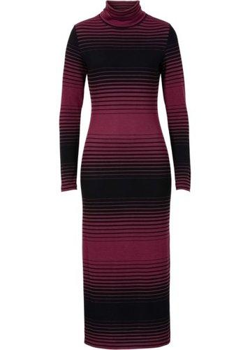 Вязаное платье (черный/серый меланж в полоску)