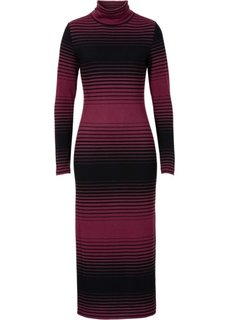 Вязаное платье (черный/серый меланж в полоску) Bonprix
