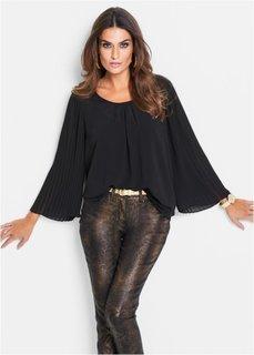 Коллекция Премиум: блузка с плиссированными рукавами (черный) Bonprix