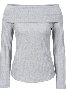 Вязаная футболка с вырезом-кармен (черный) Bonprix
