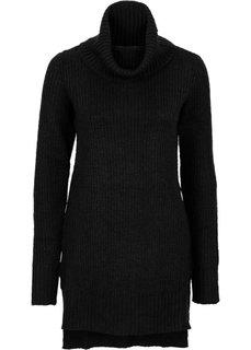 Удлиненный пуловер (темно-зеленый) Bonprix