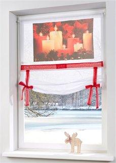 Римская штора со светодиодным освещением Свеча, кулиска (белый/красный) Bonprix