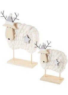 Новогодние декоративные фигурки Лоси Беа и Леа (2 шт.) (натуральный/белый) Bonprix