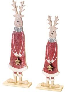 Новогодняя статуэтка Лоси из дерева (2 шт.) (красный/натуральный/белый) Bonprix