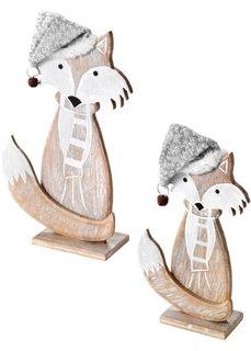 Новогодняя фигурка Лиса из дерева (2 шт.) (светло-коричневый/серый) Bonprix