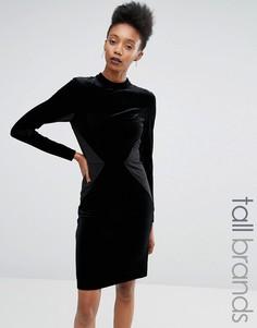Y.A.S Tall Luvy Velvet Panelled Bodycon Dress - Черный
