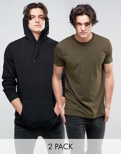 ASOS Longline Hoodie/Longline T-Shirt 2 Pack Black/Khaki SAVE 15 - Мульти