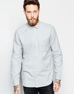 Светло-серая фланелевая рубашка классического кроя Weekday Delta - Серый