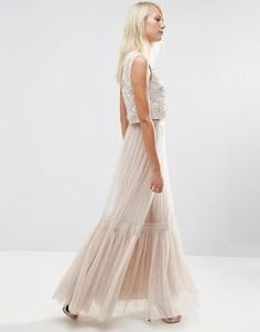 Тюлевая юбка макси с кружевом Needle & Thread - Бежевый