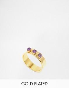 Позолоченное фактурное кольцо с аметистом Mirabelle - Золотой