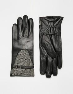 Кожаные перчатки со вставками из твида с люрексом Totes - Черный