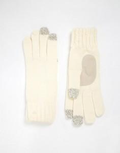 Вязаные перчатки с накладками для сенсорных экранов на 3 пальцах Totes - Кремовый