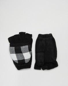 Фактурные варежки Plush - Черный