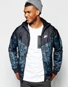 Черная ветровка с камуфляжным принтом Nike Badlands 823369-010 - Черный