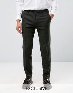 Фактурные зауженные брюки с отворотами Heart & Dagger - Зеленый
