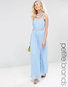 Платье макси с отделкой TFNC Petite WEDDING - Синий