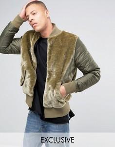 Плюшевая куртка‑пилот с нейлоновыми рукавами The New County - Зеленый