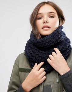 Длинный вязаный шарф-снуд с шевронным узором Hat Attack - Темно-синий