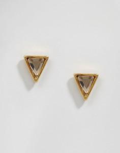 Серьги-гвоздики с хрустальными пирамидками Orelia - Золотой