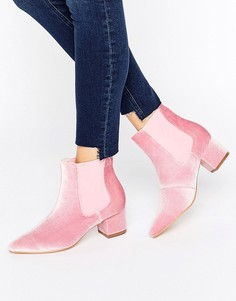 Truffle Point Toe Velvet Mid Heel Boots - Розовый