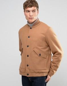 Бежевая куртка-пилот на основе шерсти с подкладкой борг ASOS - Рыжий