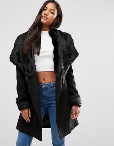 Пальто с запахом и отделкой из искусственного меха Michelle Keegan Loves Lipsy - Черный