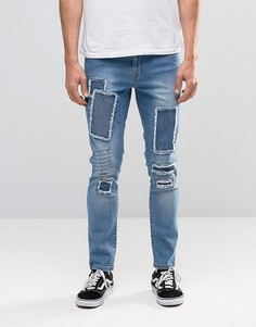 Brooklyn Supply Co Mid Wash Dumbo Jeans Patchwork Detail with Knee Rip - Синий