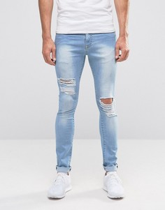 Brooklyn Supply Co Ripped Light Wash Hunter Spray On Jeans with Distressing - Синий