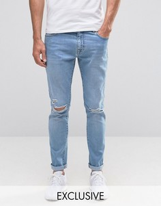 Brooklyn Supply Co Light Wash Jeans with Knee Slit in Skinny Fit - Синий