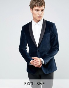 Number Eight Savile Row Velvet Skinny Tuxedo Jacket with Satin Lapel - Темно-синий