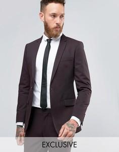 Пиджак зауженного кроя с узором в елочку Number Eight Savile Row - Красный