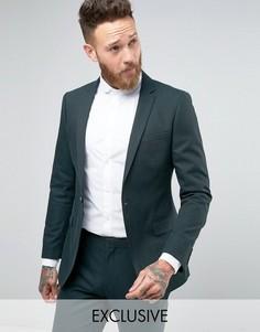 Пиджак зауженного кроя с узором в елочку Number Eight Savile Row - Зеленый