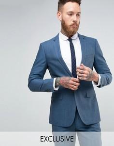 Пиджак зауженного кроя с узором в елочку Number Eight Savile Row - Синий