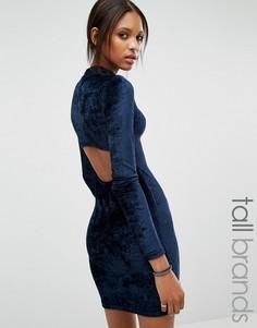 Бархатное облегающее платье с открытой спинкой Noisy May Tall - Темно-синий