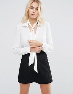 Шифоновая блузка со съемным галстуком Goldie Wild World - Белый