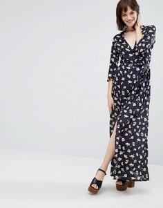 Платье макси с длинными рукавами и цветочным принтом Goldie - Синий